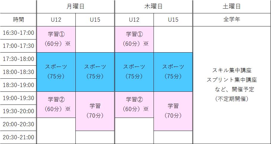 アカデミースケジュール表
